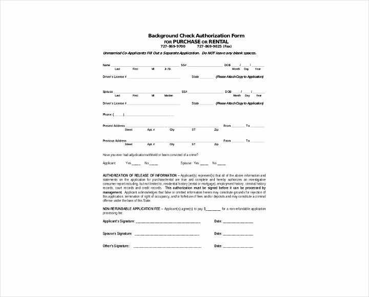 Background Check Authorization form Template Lovely 9 Background Check Information forms & Templates Pdf