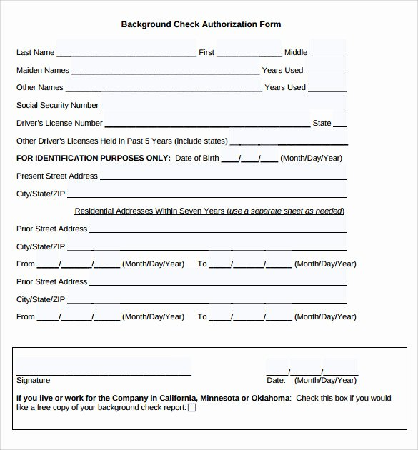 Background Check Authorization form Template Lovely Background Check Authorization form 10 Download Free