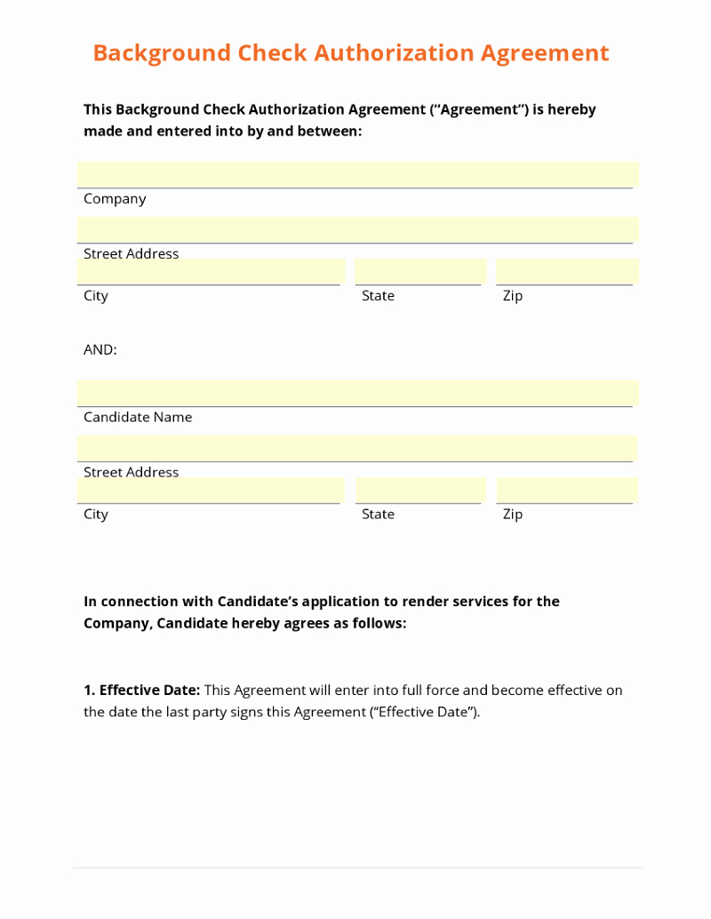 Background Check Authorization form Template Lovely Business form Template Gallery