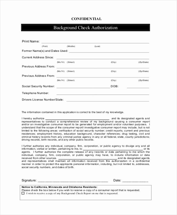 Background Check Authorization form Template Luxury 12 Check Authorization form Sample Free Sample Example