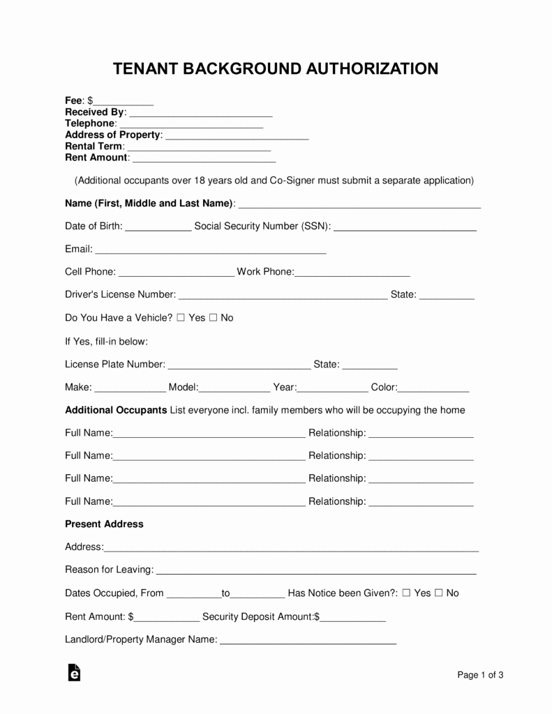 Background Check Authorization form Template Luxury Free Tenant Renter Background Check form Word