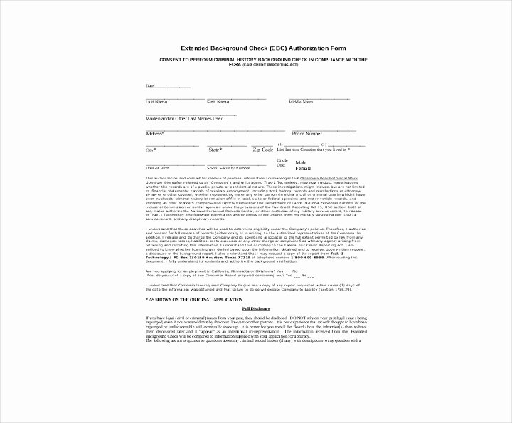 Background Check Authorization form Template Unique 9 Background Check Information forms & Templates Pdf