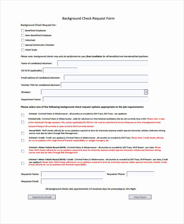 Background Check form Template Awesome Free 48 Sample Request form Templates