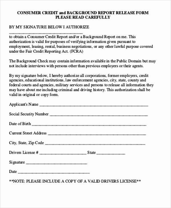 Background Check form Template Awesome Sample Background Check Release form 8 Examples In Word