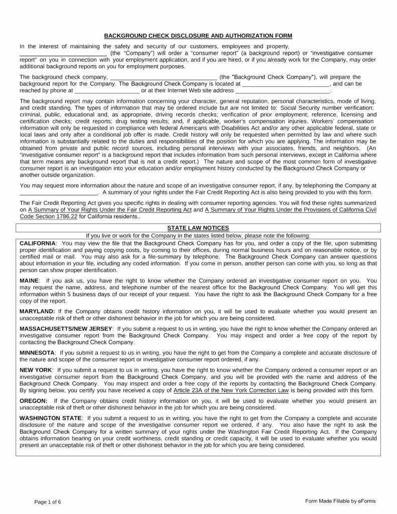 Background Check form Template Best Of Free Background Check Authorization form Pdf