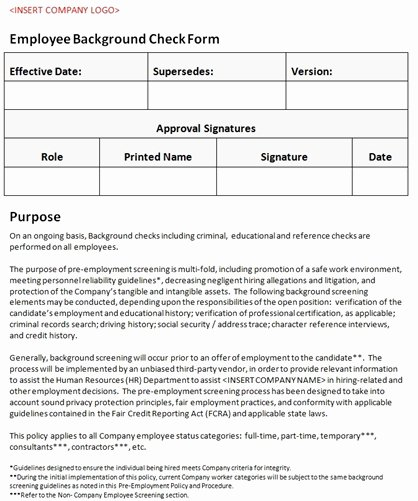 Background Check form Template Free Best Of Employee Background Check form Accounting Policy