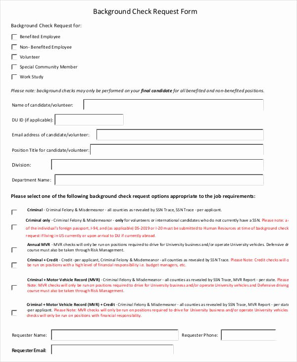 Background Check form Template Free Elegant Check Request form 11 Free Word Pdf Documents Download