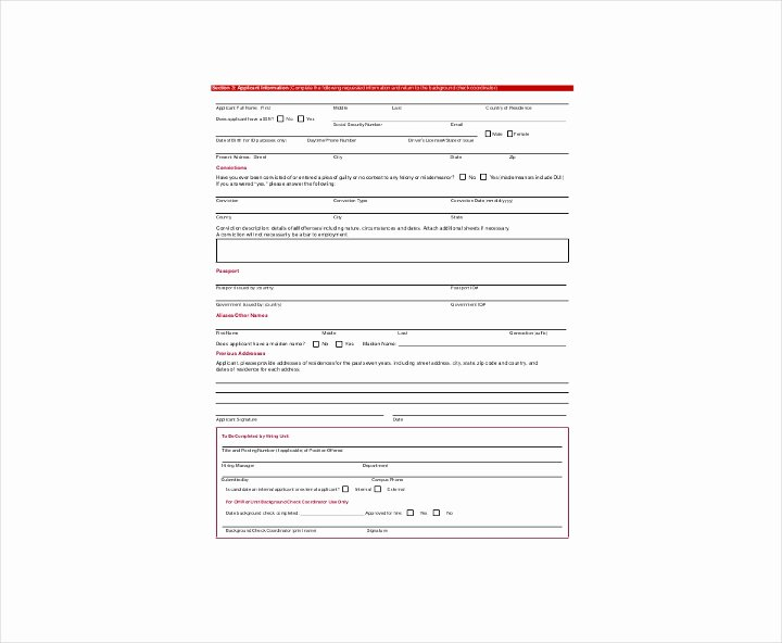 Background Check form Template Free Inspirational 9 Background Check Information forms & Templates Pdf