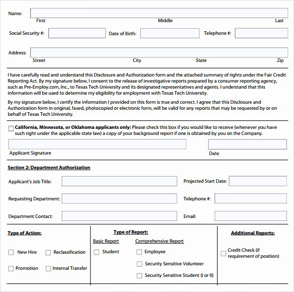 Background Check form Template Free Inspirational Background Check Authorization form 10 Download Free