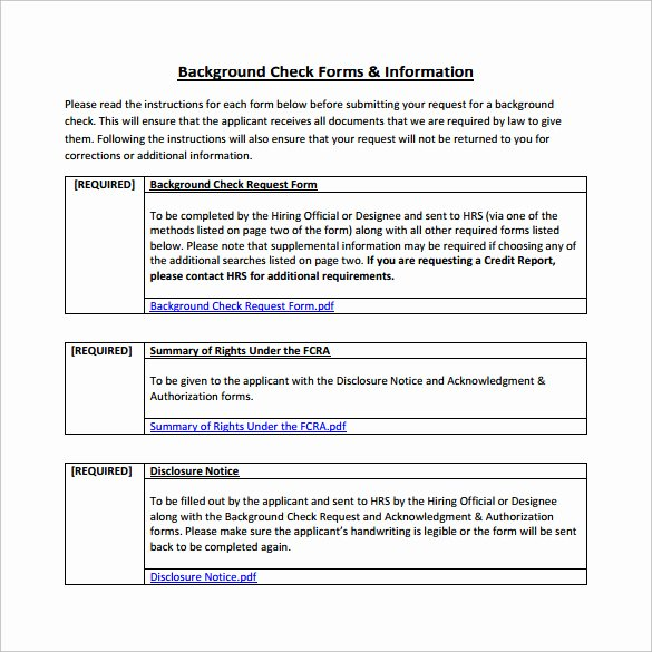Background Check form Template Free Inspirational Background Check form 7 Download Free Documents In Pdf