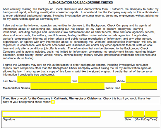 Background Check form Template Free Inspirational Free Background Check Authorization form Pdf