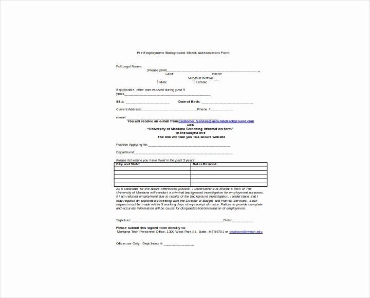 Background Check form Template Free Lovely 9 Background Check Information forms & Templates Pdf