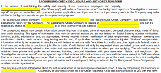 Background Check form Template Free New Free Background Check Authorization form Pdf