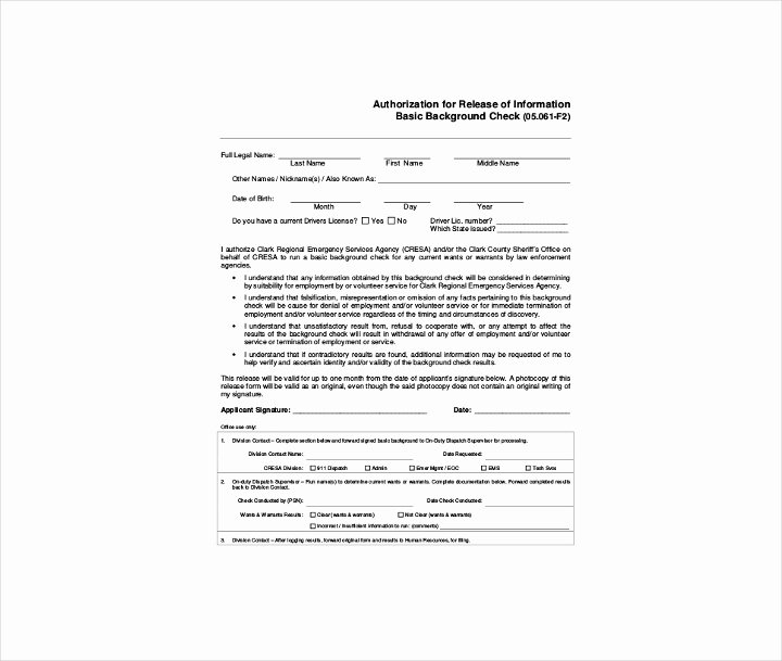 Background Check form Template Fresh 9 Background Check Information forms & Templates Pdf