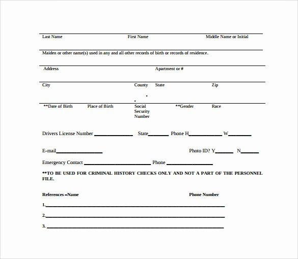 Background Check form Template Fresh Background Check Authorization form 10 Download Free