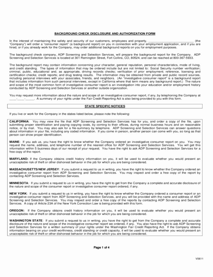 Background Check form Template Lovely Ach Deposit Authorization form Template Templates