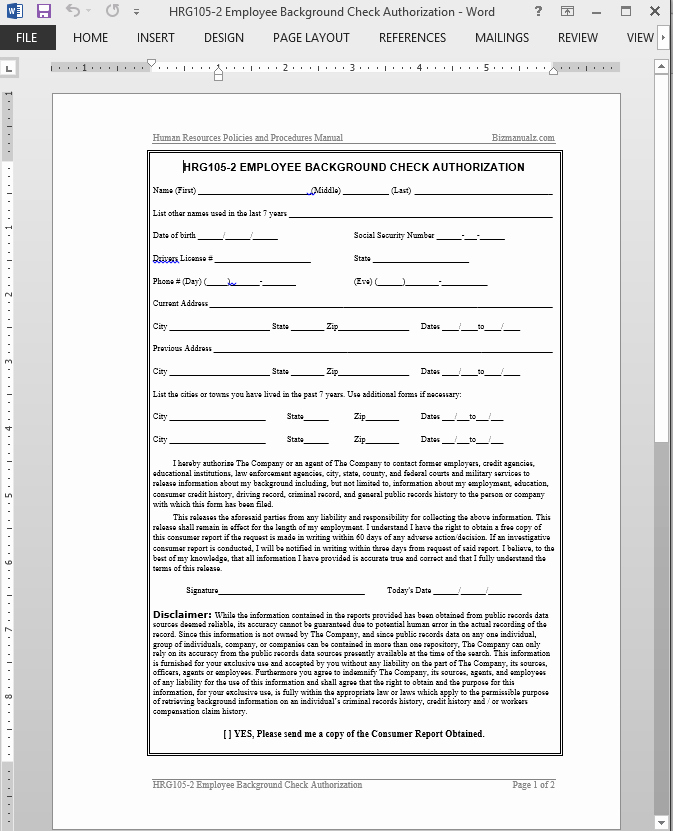 Background Check form Template Luxury Employee Background Check Authorization Template