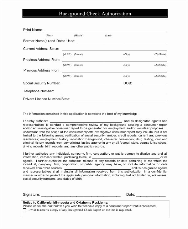 Background Check form Template Unique Nanny Application Templates 6 Free Word Pdf Document