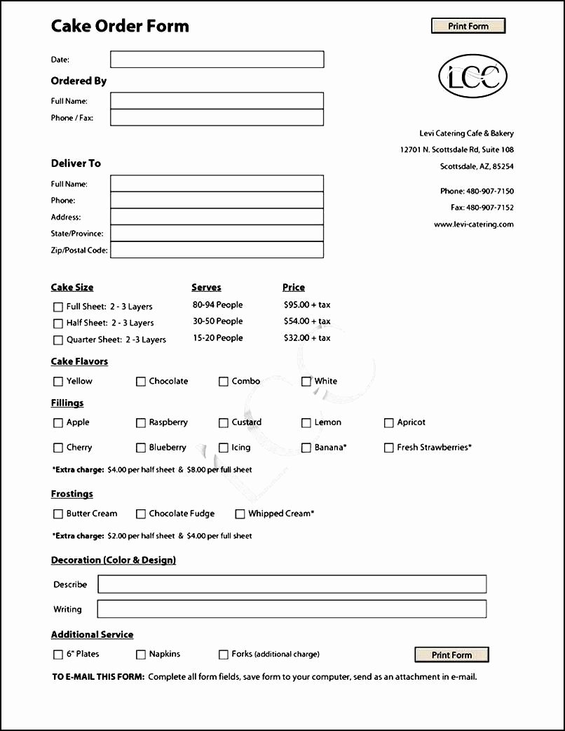 Bakery order forms Template Awesome Cake order form Template Free