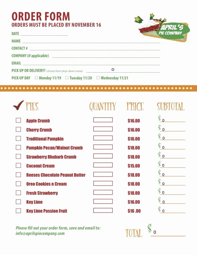 Bakery order forms Template Awesome Part 2 Of A Custom Menu order form We Created for