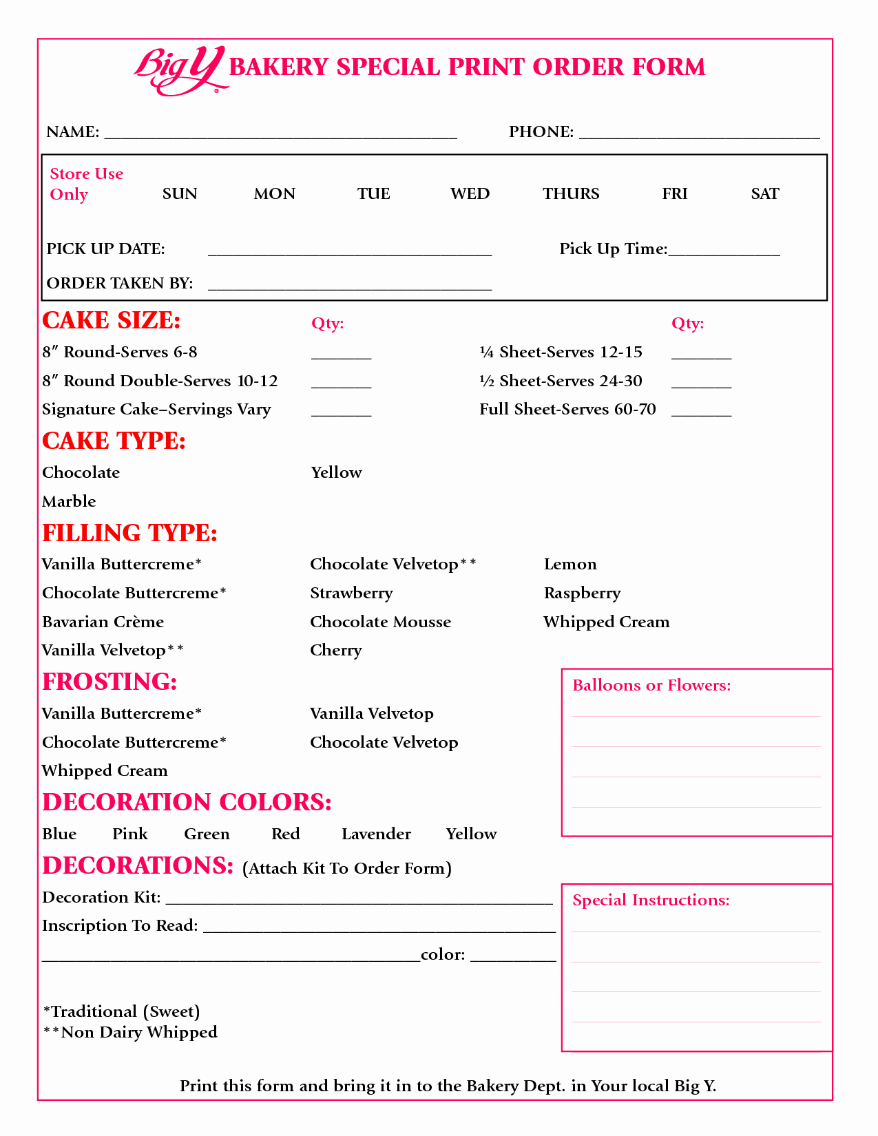 Bakery order forms Template Best Of Cake order form Google Search