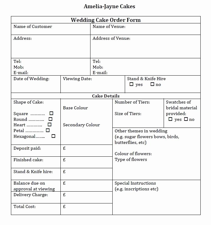 Bakery order forms Template Best Of Wedding Cake order form Idea In 2017