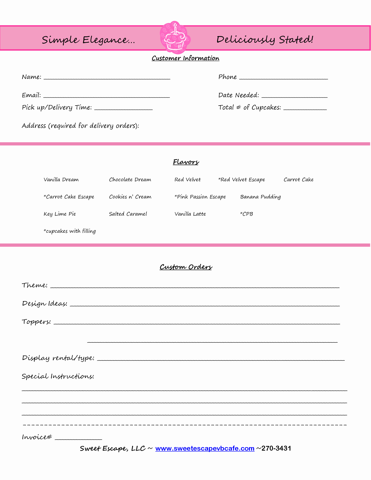 Bakery order forms Template Fresh Cake order form Templates Free Cupcakes