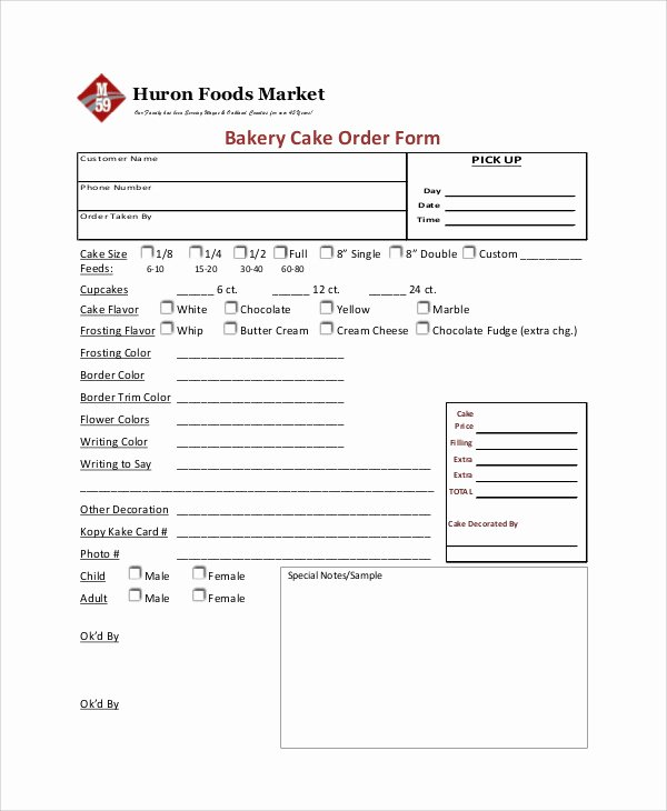 Bakery order forms Template Fresh Sample Cupcake order form 9 Examples In Word Pdf