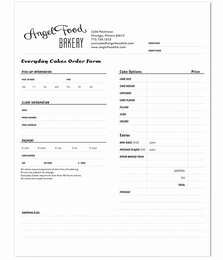 Bakery order forms Template Luxury Angel Food Bakery order form Track Marketing