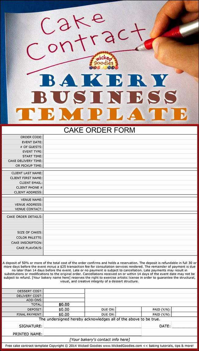Bakery order forms Template New How to Write A Cake Contract