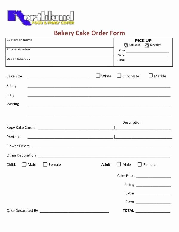 Bakery order forms Template Unique Free 14 Sample Food order Template In Pdf