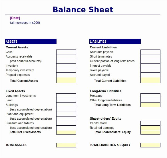 Balance Sheet Template Word Fresh Balance Sheet Template