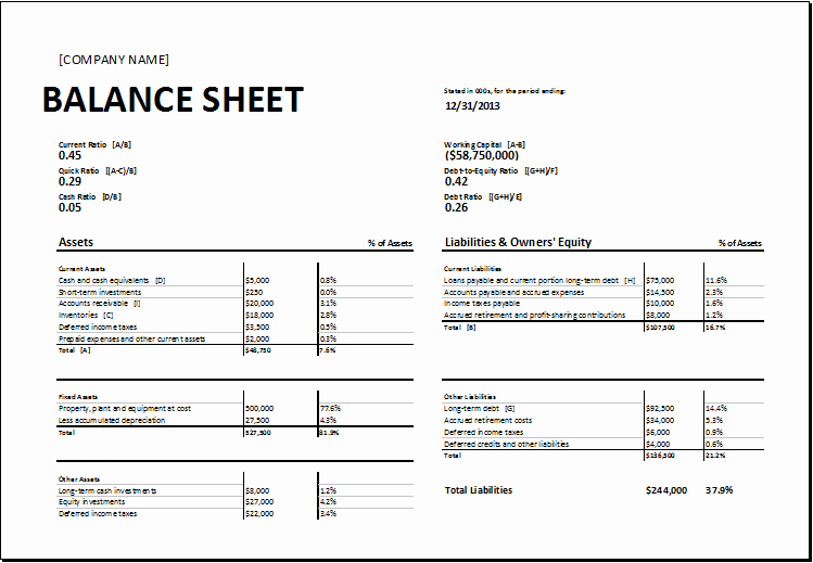Balance Sheet Template Word Fresh Free 8 Balance Sheet Templates format Example Word Excel Pdf