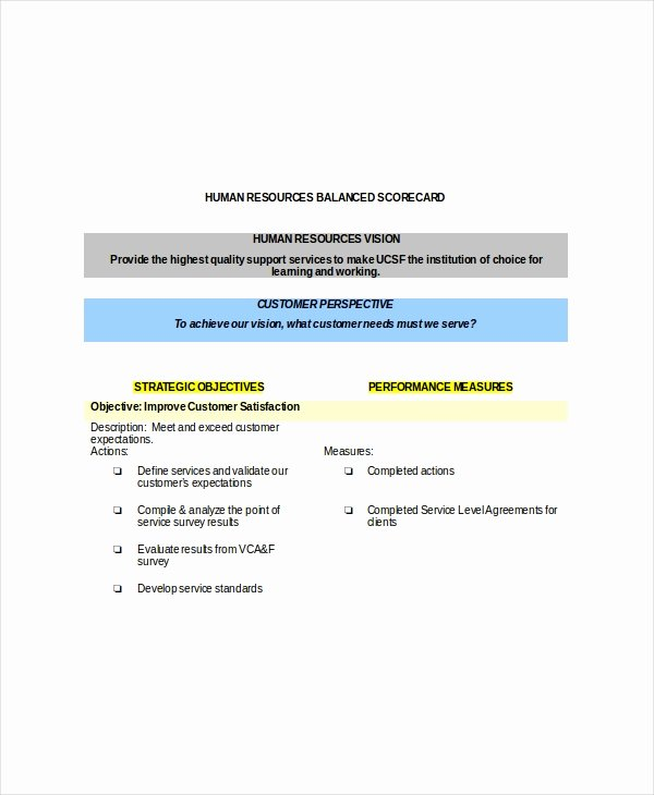 Balanced Scorecard Template Word Elegant Balanced Scorecard Template – 8 Free Word Pdf Documents