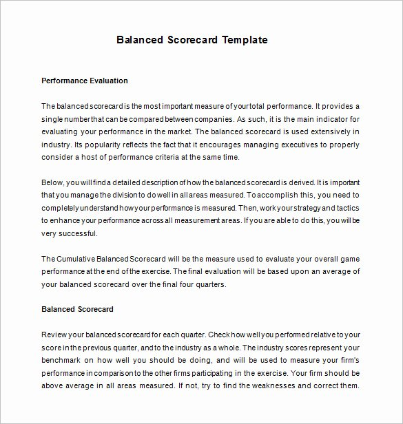 Balanced Scorecard Template Word Luxury 13 Balanced Scorecard Templates Pdf Doc Xls