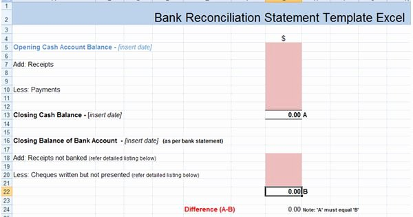 Bank Statement Template Excel Best Of Bank Reconciliation Statement Excel Template Xls