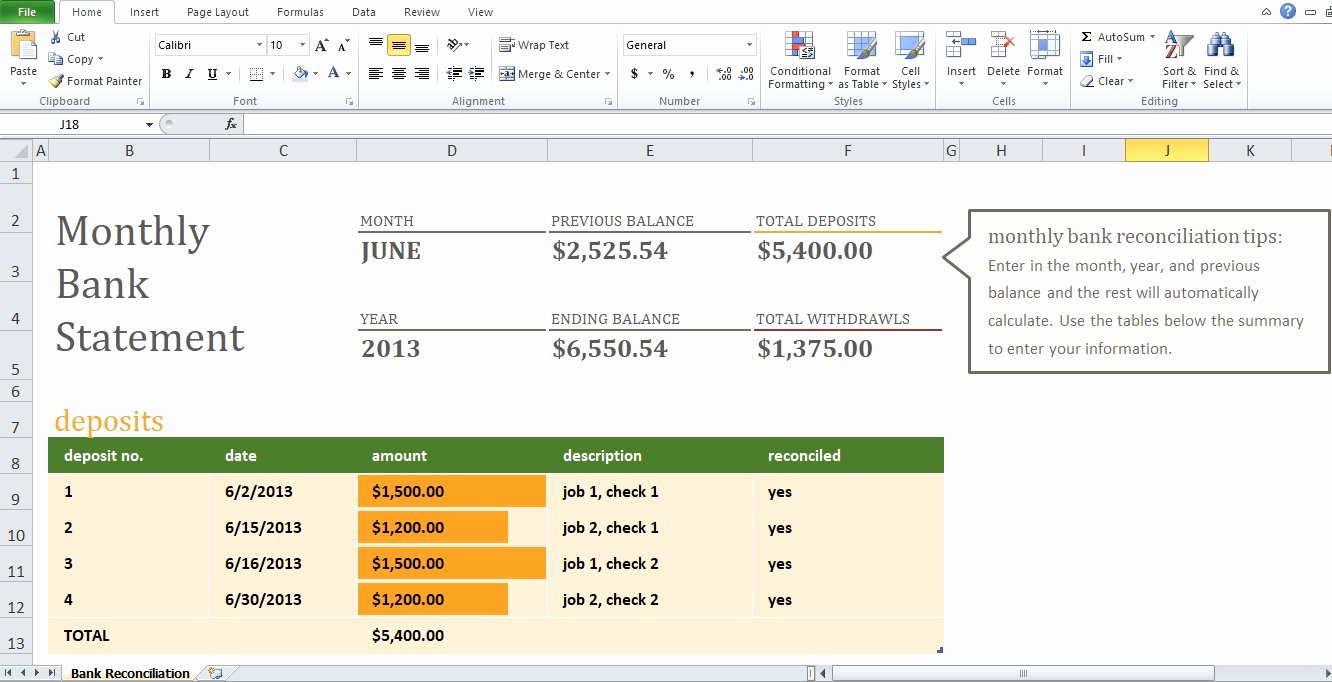 Bank Statement Template Excel Fresh Example Of Monthly Bank Reconciliation Statement Template