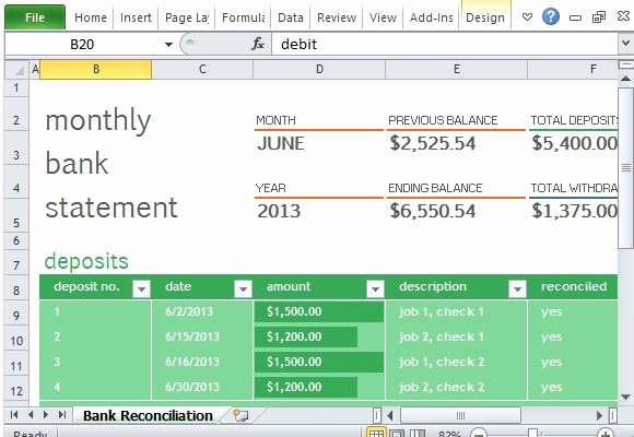 Bank Statement Template Excel Luxury Monthly Bank Reconciliation Template for Excel