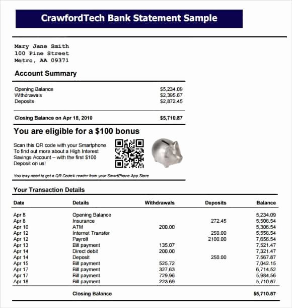 Bank Statement Template Excel New 9 Free Bank Statement Templates Word Excel Sheet Pdf