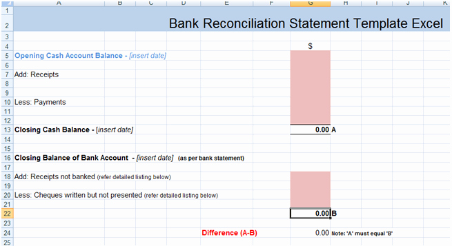 Bank Statement Template Excel New Bank Reconciliation Statement Excel Template Xls