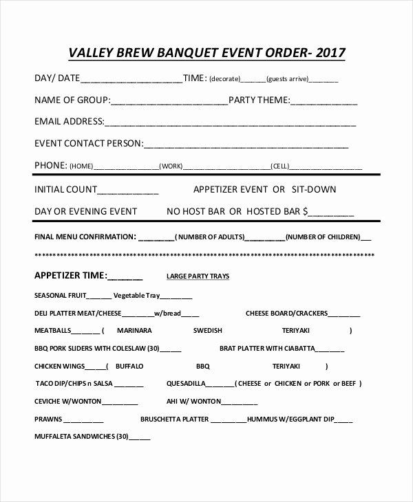 Banquet event order Template Awesome 34 Simple order forms
