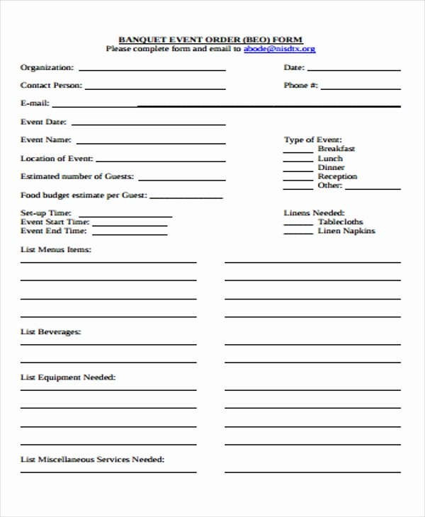 Banquet event order Template Beautiful 9 event order forms Free Samples Examples format