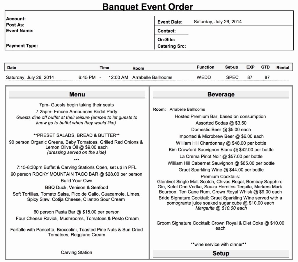 Banquet event order Template Lovely Luxury Banquet event order Template