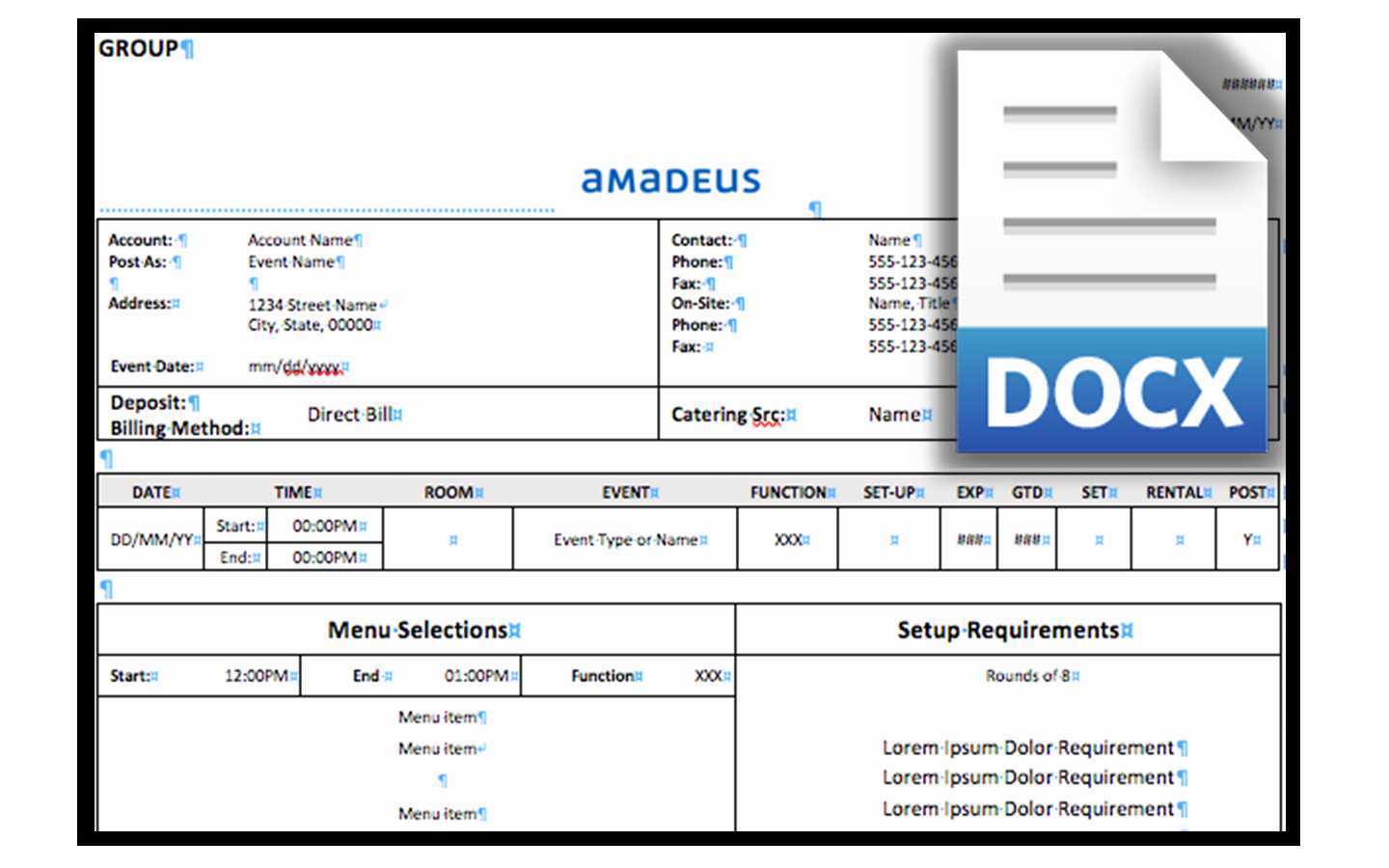 Banquet event order Template Luxury Beo Template Amadeus Hospitality
