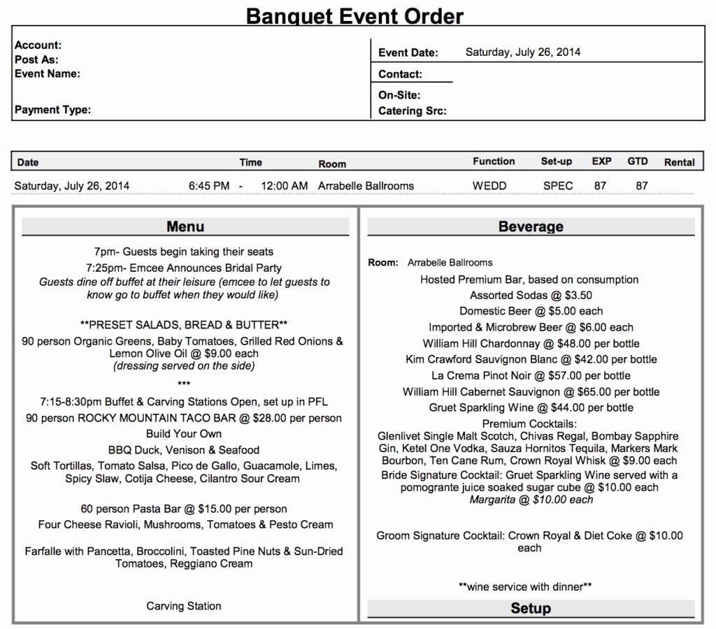 Banquet event order Template Luxury What is A Beo
