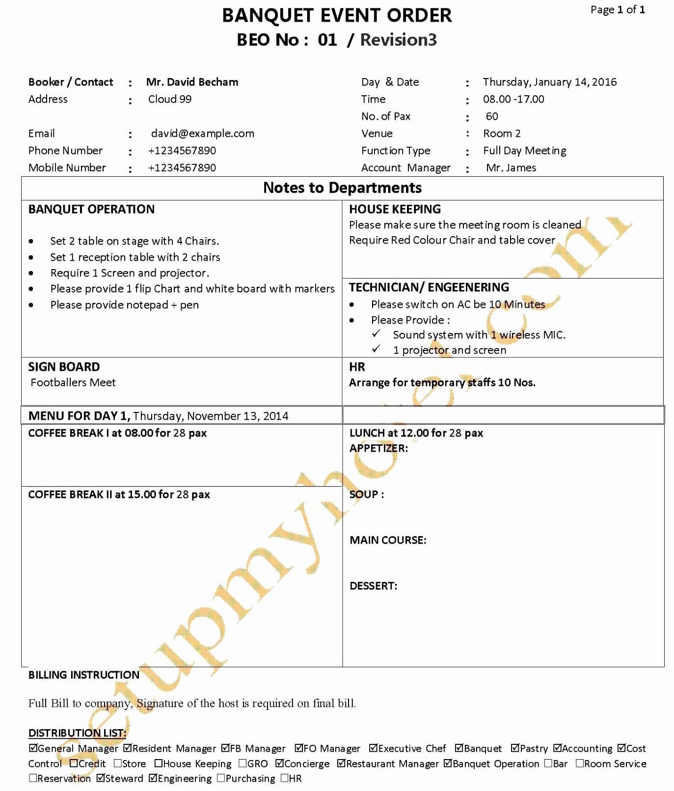 Banquet event order Template New order Template – 20 Free Word Excel Pdf Documents Download