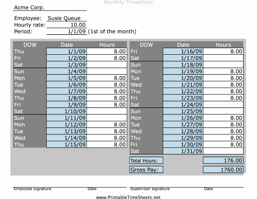 Basic Monthly Timesheet Template Awesome Simple Monthly Timesheet Printable Time Sheet