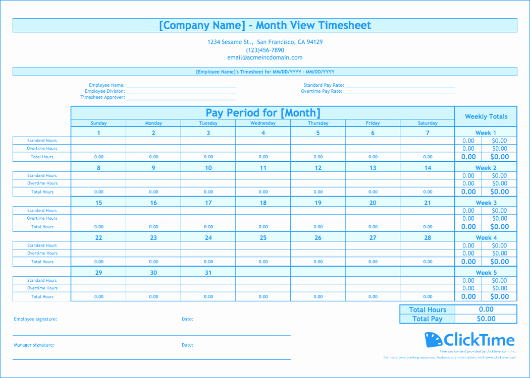 Basic Monthly Timesheet Template Best Of Free Monthly Timesheet Template