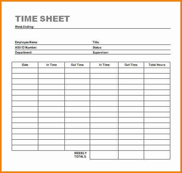 Basic Monthly Timesheet Template Best Of Timesheet Template Word