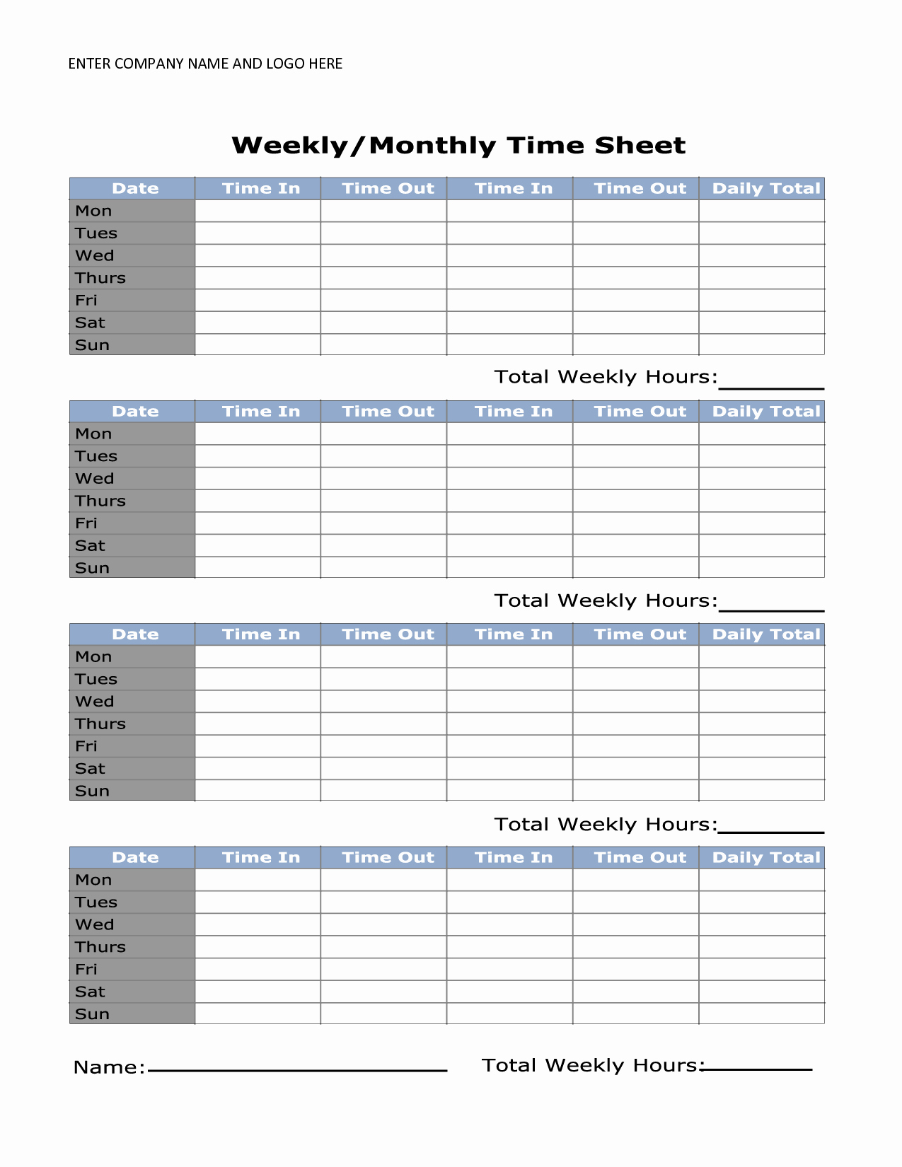 Basic Monthly Timesheet Template Elegant 8 Best Of Printable Monthly Time Sheets Free